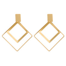 Korean New Trendy Big Earrings Geometric Square Dangle Drop Earrings For Women Statement Earings Fashion Jewelry 2019 Oorbellen(China)