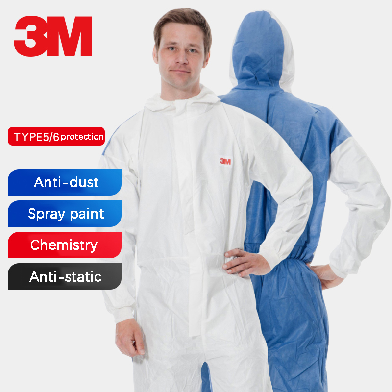 3M 4535 Chemical Protective Clothing Connected Hat Dust-proof Medical Laboratory Anti-static Protective Suit