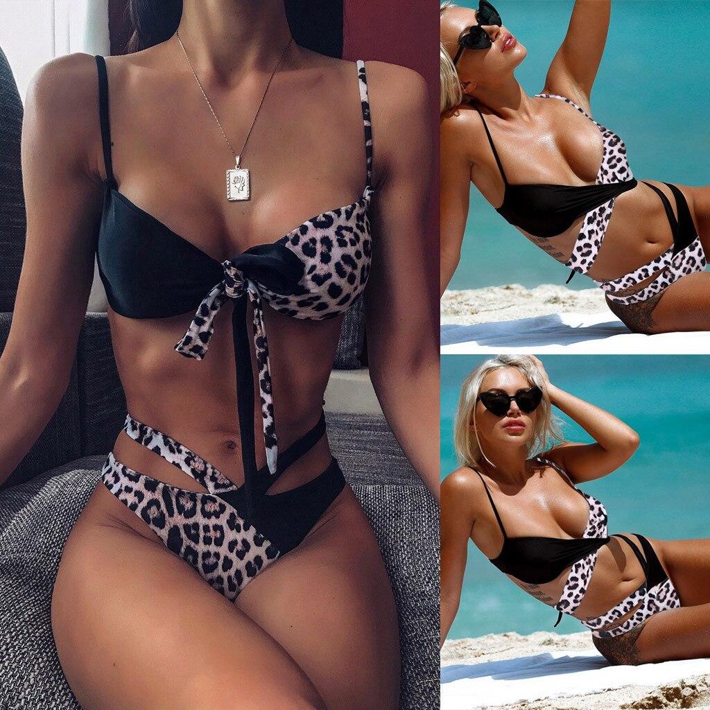 2019 Hot Sexy Women's Leopard Print Bandage Underwear Push-Up Pad Newest Bathingsuit Brazillian Latest Femme Daily Underwears