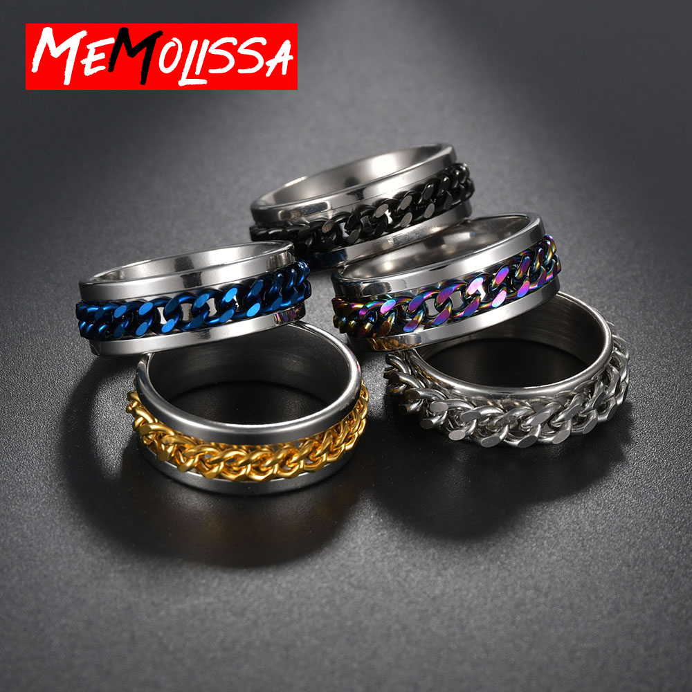 Colorful Chain Spinner Ring For Men 5Color in Stock Hip Hop Punk Stainless Steel Black Gold Wedding Band Male Rings Fashion Gift