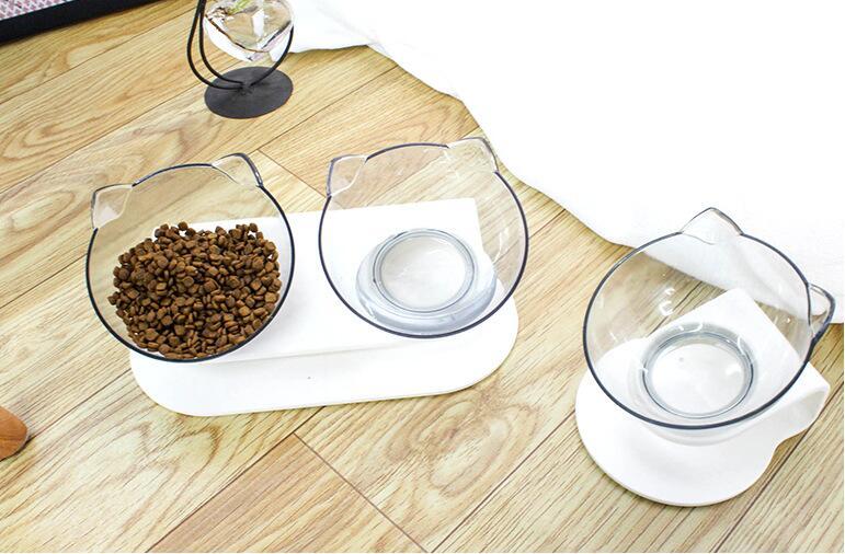 Pet bowl transparent double bowl cat food bowl water bowl cat food bowl cat bowl rack dog bowl dog food bowl oblique spine care