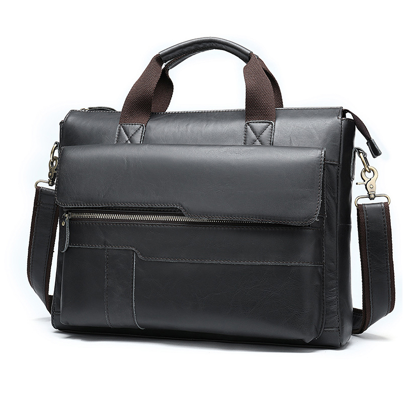 MAHEU Classic Black Mens Briefcase Case Doctor Layer Business Office Man Laptop Bags Genuine Leather Computer Bags Men Male Bag