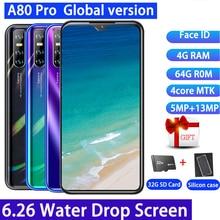 Nuevo teléfono inteligente A80 Pro Quad Core versión Global android 4GBRAM + 64GBROM 13MP teléfonos móviles 6,26 'Waterdrop teléfonos celulares