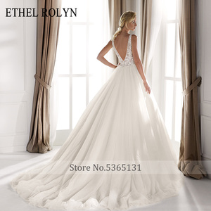 Image 2 - ETHEL ROLYN Sexy dekolt w szpic Vintage suknia ślubna 2020 romantyczny zroszony aplikacje A Line suknie ślubne z tiulu Vestido De Noiva