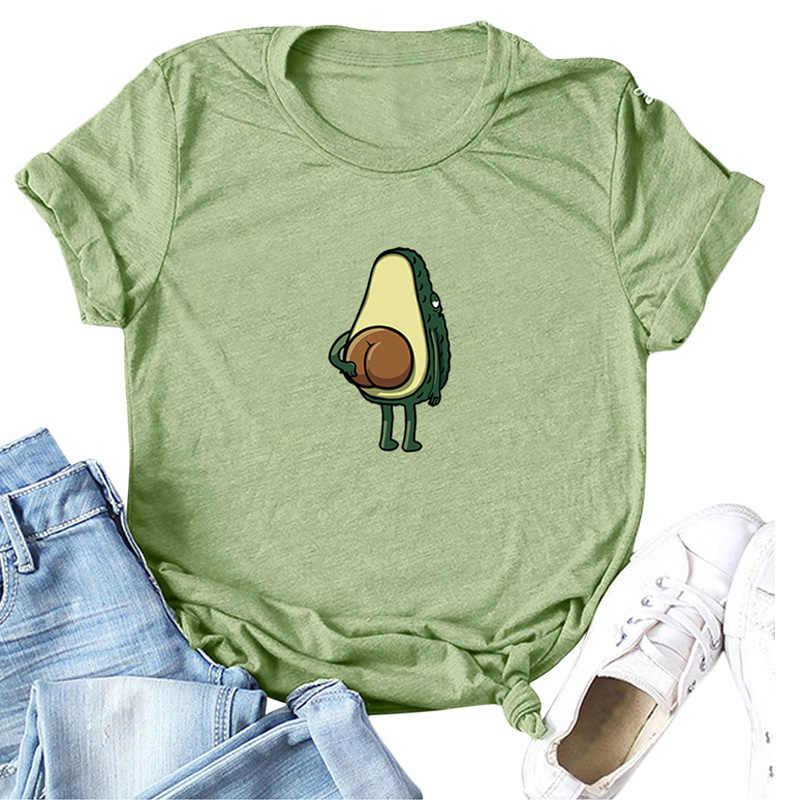 Avocado T Shirt Vrouwen T-shirts Harajuku Cartoon Patroon Gedrukt Tee Shirts Koreaanse Tshirt Korte Mouw Tops Plus Size 3XL 4XL 5XL