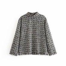 Women Basic Tweed Sweaters Stand Collar Tassels Design Long Sleeve Pullovers FFZ