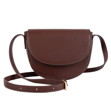 Fashion Style Shoulder Bag Pu Synthetic Leather Semi-circle Youth Ladies Daily Messenger Solid Color Leisure Storage