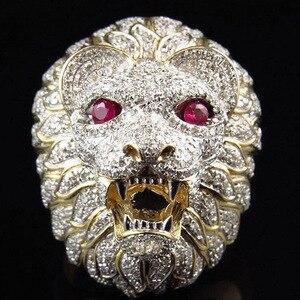 Для мужчин в стиле панк властная золотая голова льва кольцо полный стразы животное палец кольца для мужчин Хип Хоп мода Бохо ювелирные изде...