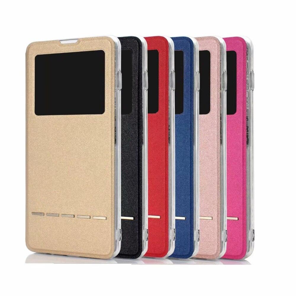 Coque de support de support de couverture en cuir dunité centrale de secousse de vue de fenêtre de couleur simple Ultra mince pour la galaxie de Samsung de téléphone portable