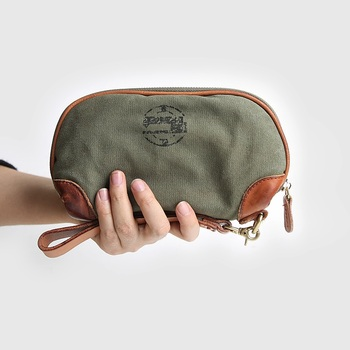 Handmade Quality Wallet Men Army Green Canvas Purse Card Holder Money Bags Casual Long Clutch Wallets