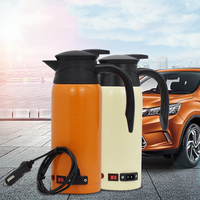 800ML Stainless Steel Safe Car Electric Heated Water Kettle Bottle Cup 12 24V Travel Car Kettle Car Heater