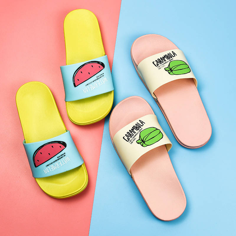 Summer fashion women's slippers home soft bottom slippers bathroom non-slip thick-soled sandals and slippers fruit series patter