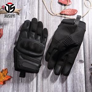 Image 5 - قفازات تكتيكية عسكرية كاملة الاصبع من الجلد الادسنس شاشة لمس قتالية مقاومة للانزلاق أصابع قاسية قفازات واقية للرجال