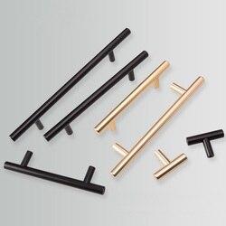 Дверную ручку черного и золотого цвета шкаф Ручки Матовый Нержавеющаясталь Кухня дверная ручка для шкафа мебели ящика тяг оборудования