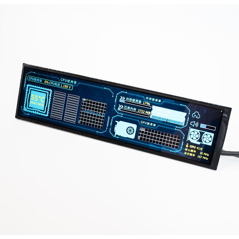 1920 * 480hd ips tela de controle temperatura display dinâmico aida64 desktop para raspberry pi computador caso exibição