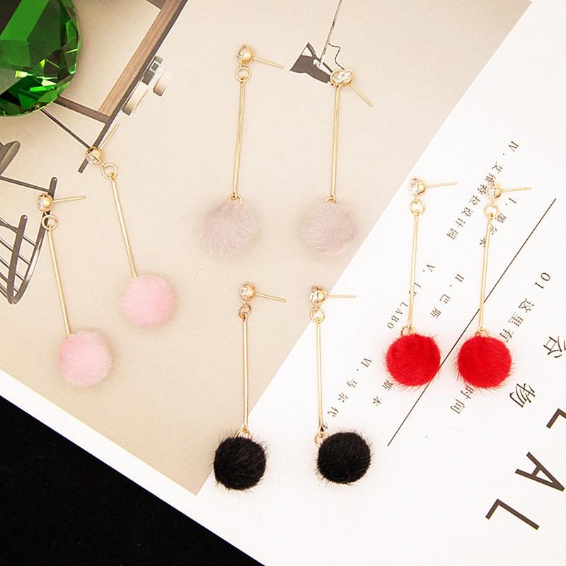 CARTER LISA Red Black Fashion Plush Ball Drop Earrings For Women Korean Velvet Round Tassel Long Dangle Gift Jewelry Statement