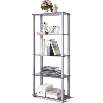 Costway 5-Tier Multi-Functional Storage Shelves Rack Display Bookcase Home Furni Walnut