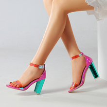 2019 Fashion Sexy Shoes Summer Women Sandals High Heels PVC Ankle Strap Women Shoes Peep Toe High Heels Party Wedding Shoes