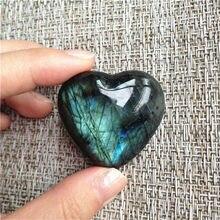 Forma natural do coração da pedra preciosa da preocupação da pedra preciosa de cura das pedras da palma de labradorite do cristal da moonstone para a jewlery que faz к10 #10 10 #10