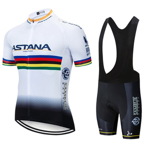 Image 2 - 2019 Astana Team Rode Korte Mouwen Jersey Fiets Kleding Mountainbike Set 20D Gel Wielertrui Pak Ciclismo