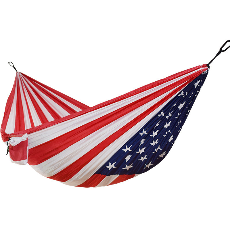 Outdoor Camping Hammock 1-2 People US Flag Printing Parachute Fabric Sleeping Bed Hammock Independence Day Gift