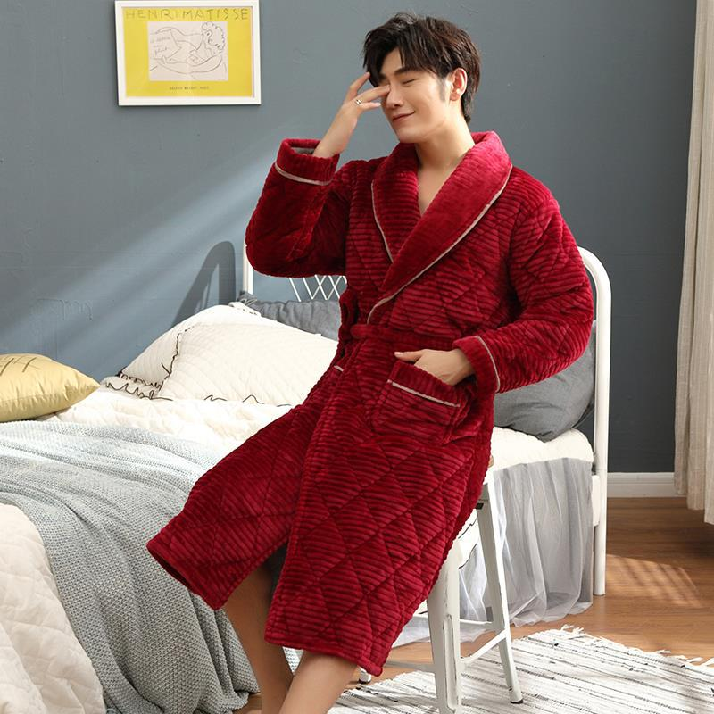 High Quality Male Winter Robe Quilted Cotton Flannel Super Thick Bathrobe Men Home Warm Bath Robes Plaid Stripe Dressing Gown