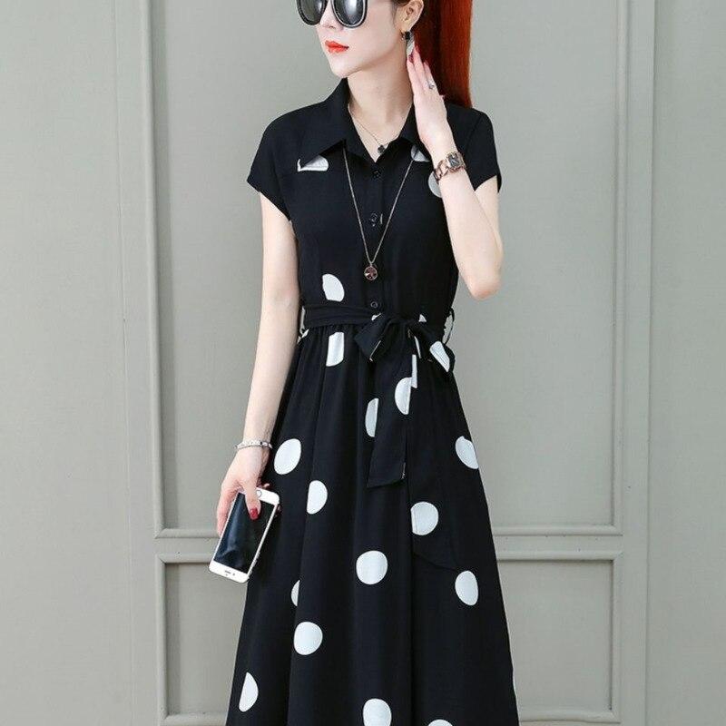 Женское платье для офивечерние, футболка с коротким рукавом, шифоновая Женская одежда в горошек в корейском зарубежном стиле, повседневные ...