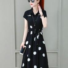 Vestido de festa de escritório feminino manga curta t camisa coreano estilo estrangeiro chiffon polka dot roupas femininas verão 2021 vestidos casuais