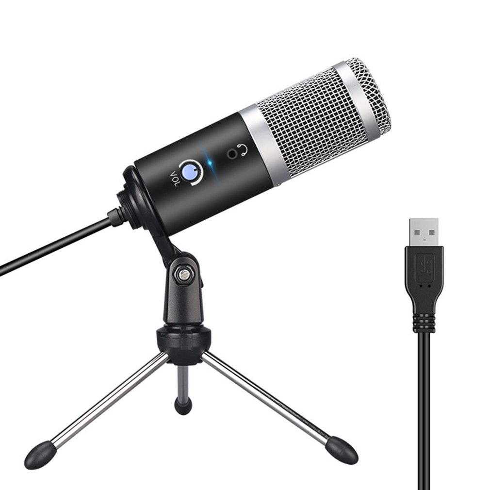 Metal USB Condenser Recording Microphone For Laptop MAC Or Windows Microphone For Youtube Podcast Recording Instrument Play image