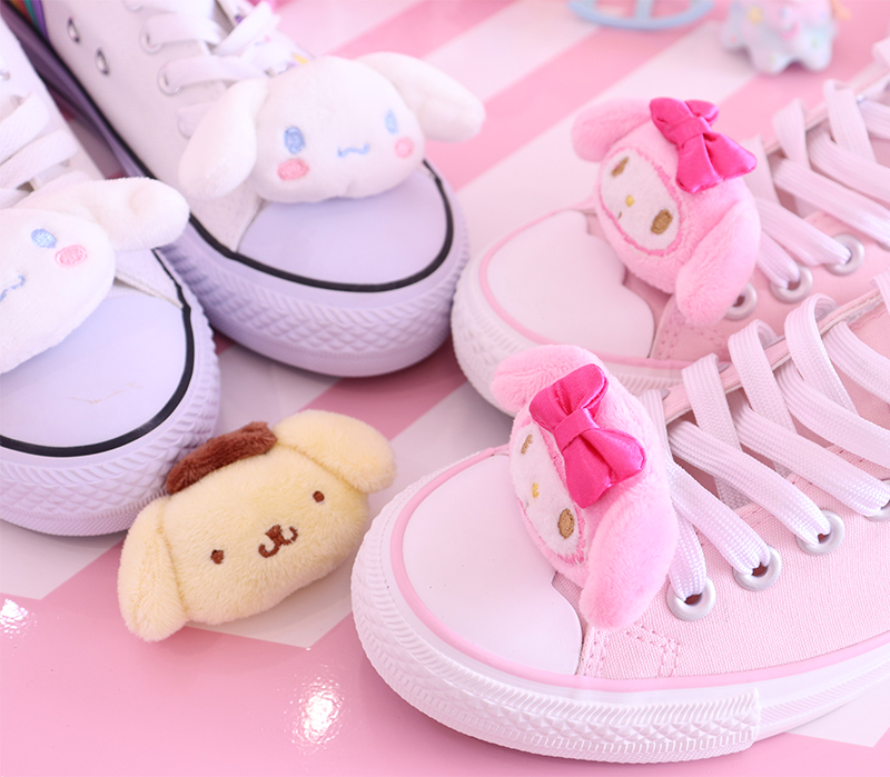 Kawaii Cinnamoroll Pudding Dog My Melody Cute Cartoon Plush Shoes Buckle Accessories Kids Girl Shoe Charms Decoration X-mas Gift