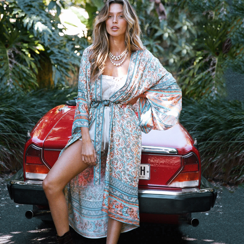 Beach Dress Women 2020 Bikini Cover Up Print Tunic Floral Long Beachwear Plus Size Bathing Suits Cover-Ups Long Sleeve Swimsuit