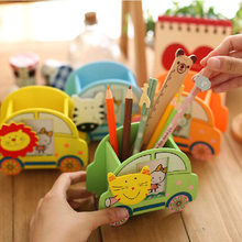 Creative Wooden Cartoon Car Modeling Photo Frame With Clip Fashionable Children Pen Container Pencil Holder Storage Tube(China)