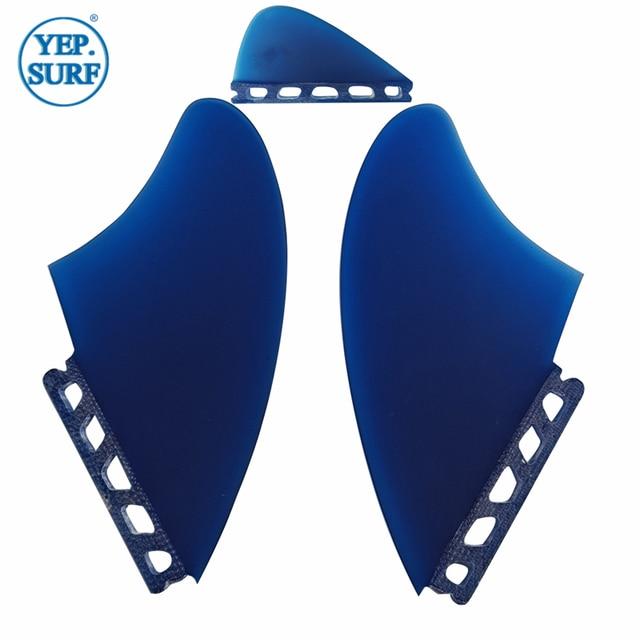 Fins Surfing Surfboard Fins Gray//Blue Keel Fin With Knubster Centre Kneel Fin