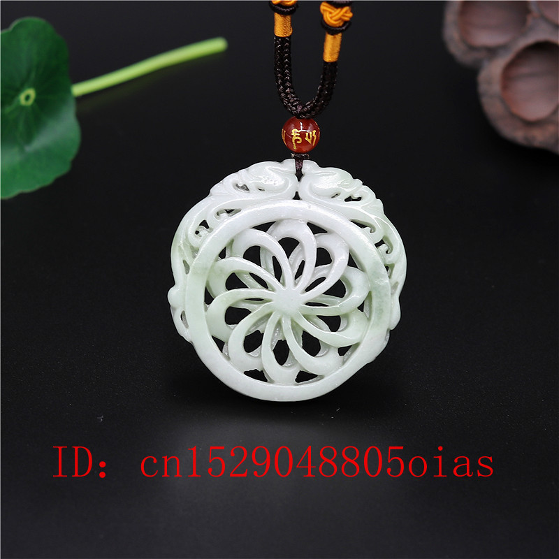 Natural White Green Chinese Jade Dragon Pendant Windmill Necklace Charm Jewelry Double-sided Hollow Carved Amulet Gifts For Her