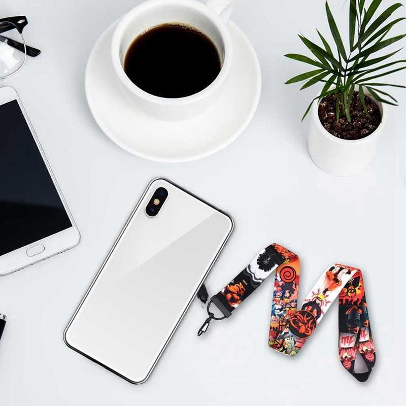 Naruto-ナルト-アニメおかしいストラップキーホルダーキーバッジ Id 携帯電話キーリング女性ネックストラップアクセサリー