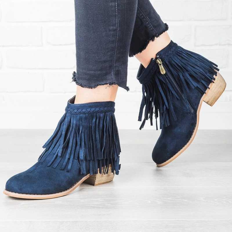 Oeak Kadın Saçak yarım çizmeler püskül Retro Katı Süet Düşük Topuk Kadın Sonbahar Fermuar Rahat Patik Ayakkabı Bayanlar Artı Boyutu 35 -43