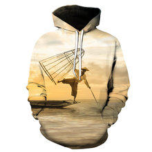 2021 Autumn and Winter New Fashion Men's Fishing Boat 3D Printing Hoodie Couple Hooded Casual Sports Loose Top