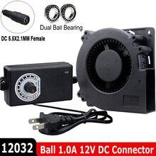 Hot 120MM dmuchawy 12V DC złącze żeńskie 5.5x2.1mm 12cm 120x120x32mm 12032 odśrodkowa wentylator chłodzący w/ AC 100V 220V zasilacz