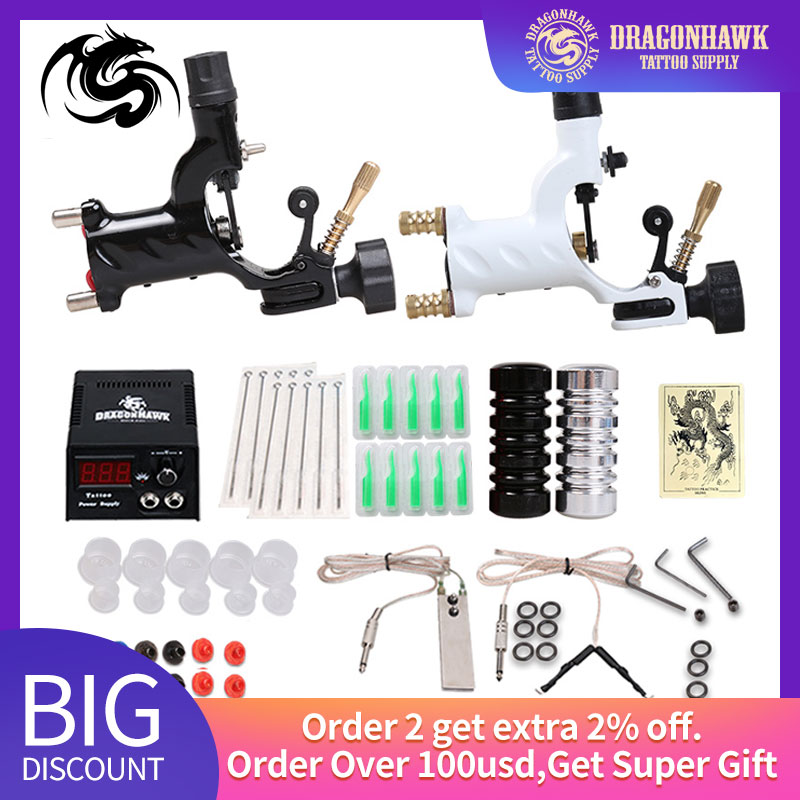 Beginner Tattoo Starter Kits 2 Rotary Tattoo Machines Guns  Sets Power Supply Needles Top Tattoo Free Shipping