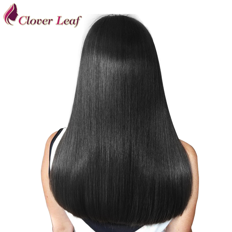 Wig Human-Hair-Wigs Lace-Frontal Straight Full-End-Clover Peruvian 360 Leaf 250-Density