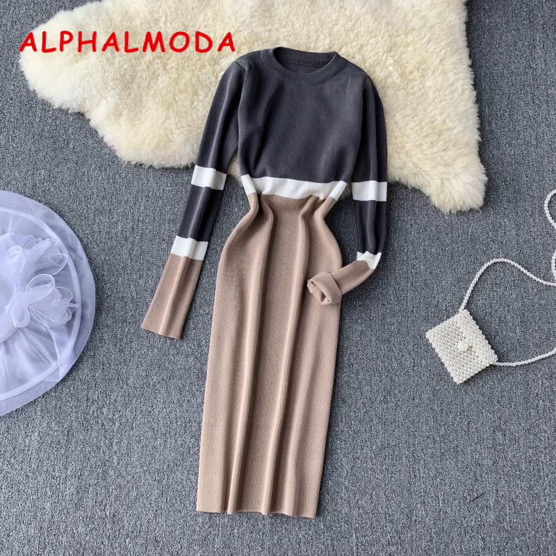 ALPHALMODA Autumn Winter Women Hit Color Knit Dress 2019 New Retro High-waist Colored Long-sleeved Slim Knitted One-Step Dress