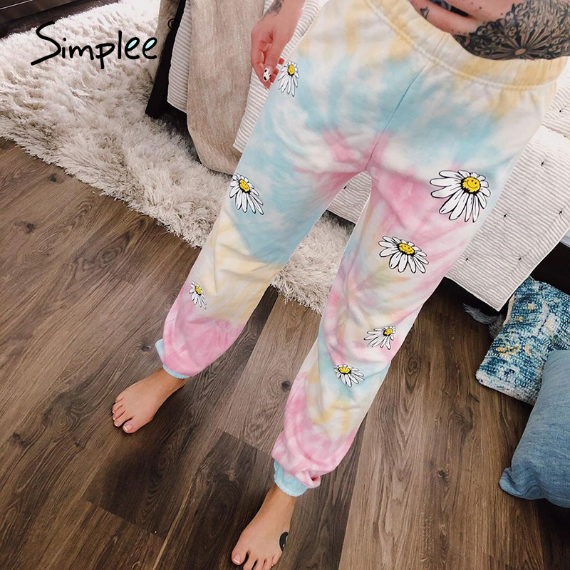 Simplee Women Fashion Pantalon Femme Pink Rendering Sweatpants  Workout Trousers Casual Loose Straight Ladies Flower Pants 2020