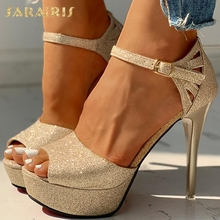 SARAIRIS NEW dropship sexy thin high heels Shoes sandals women Summer Party wedding platform ankle-strap Woman sandals female
