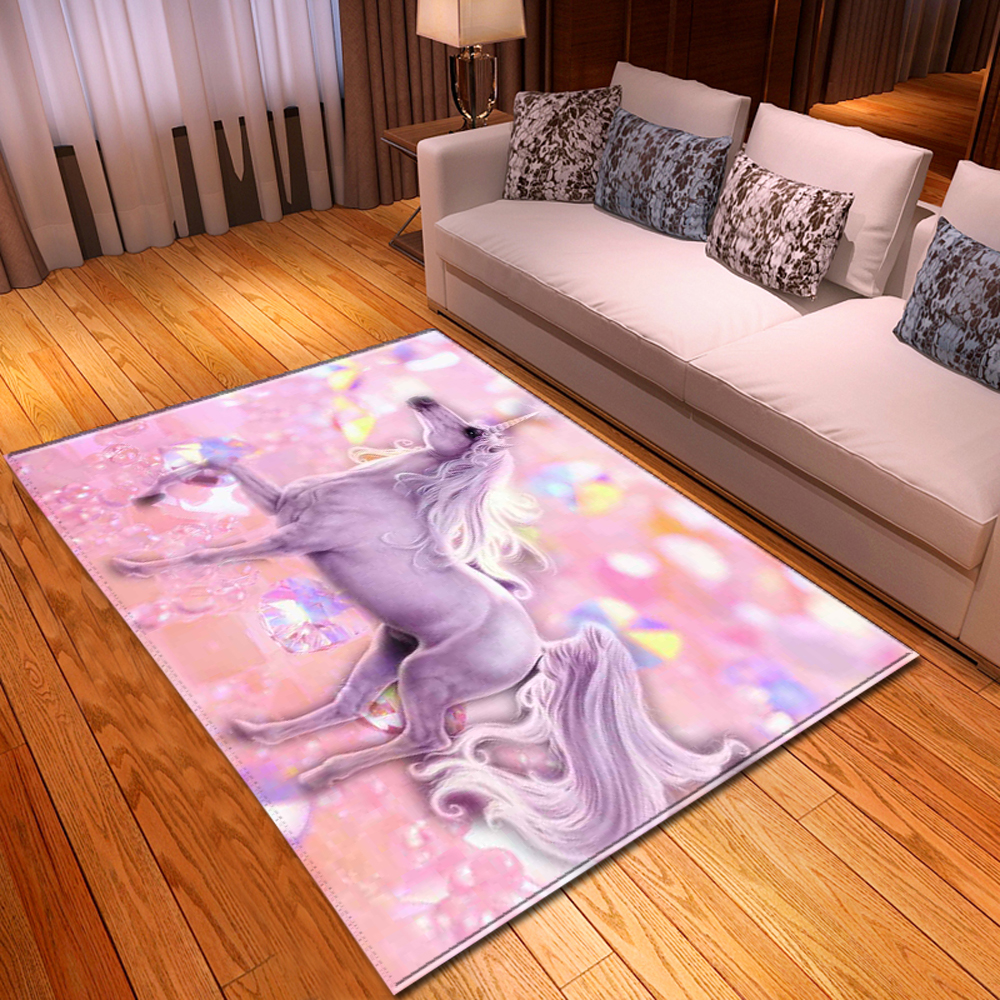 Cartoon Pink Unicorn Carpet Home Decor Area Rugs Soft Memory Foam Girls Bedroom Rugs Baby Play Crawling Mat Living Room Carpet