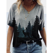Summer Painting Print V Neck Short Sleeve Tshirt Women Clothes Casaul Streetwear Tops Female Loose Harajuku Tee Camisetas Mujer