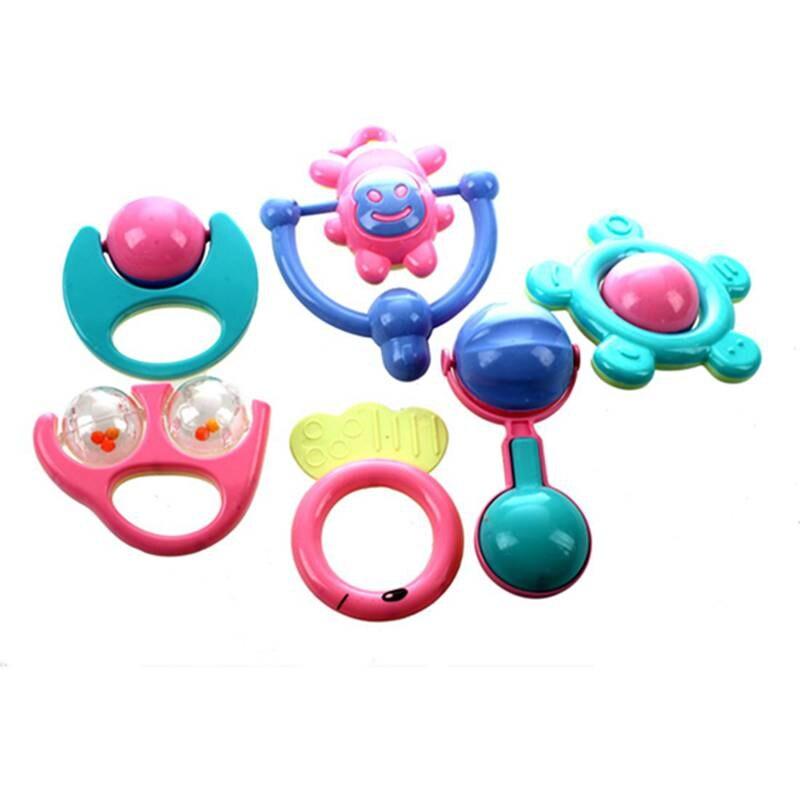 6Pcs Animal Handbells Developmental Toy Bed Bells Kids Baby Toys Rattle Lovely