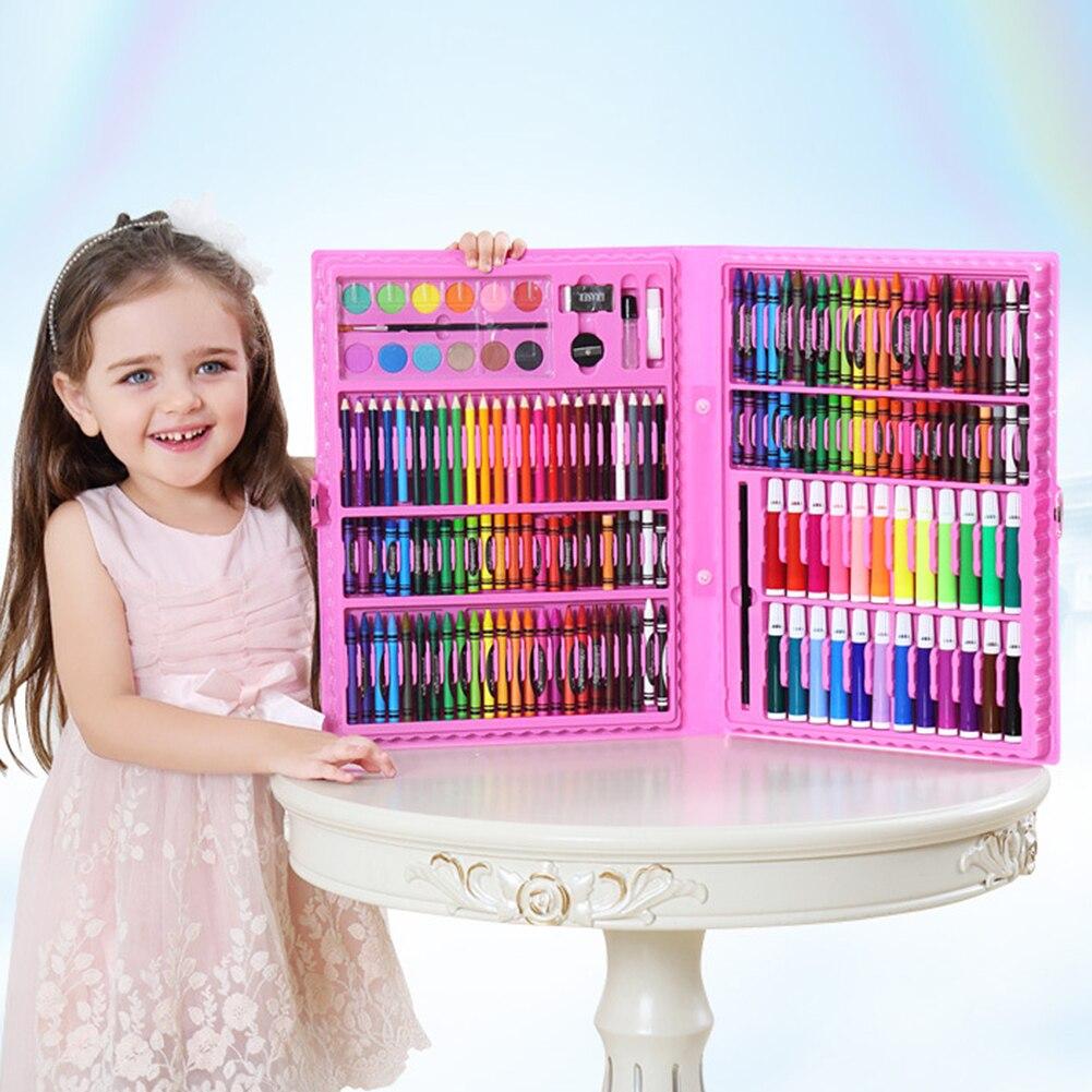 168pcs Brush Painting Art Set Pencils Stationery Kit Gift Kids Drawing Tools Box Marker Office Pen Watercolor Supplies