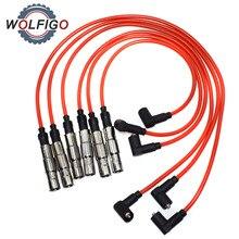 WOLFIGO 6 шт. Свеча зажигания провода кабель комплект 430NC подходит для VW Golf Jetta Passat VR6 1993-1999 2.8L-V6 021998031 021998031A 021998031D