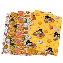 Chicken Thanksgiving Pumpkin Patchwork Polyester Cotton Fabric For Sewing Dress Cloth Making DIY Cushion Cover,c13790