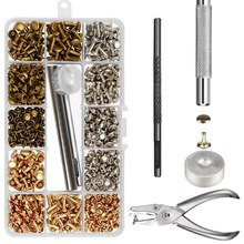 480/360/240pcs Leather Rivets Double Cap Rivet Tubular Metal Studs with Punch Pliers Fixing Set for DIY Leather Craft Rivets Rep